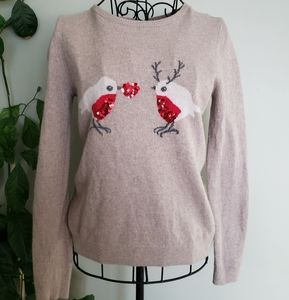 Cashmere/lambswool blend sequined bird sweater